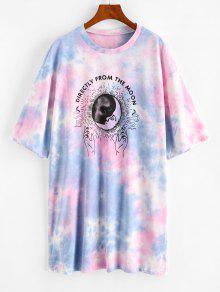 Tie Dye Letter Moon Snake Print Dress