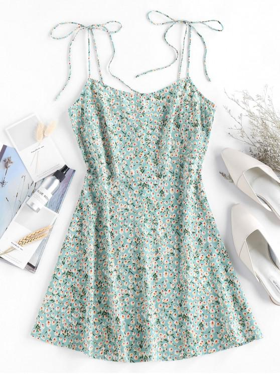 online ZAFUL Ditsy Floral Tie Cami Summer Dress - PISTACHIO GREEN L