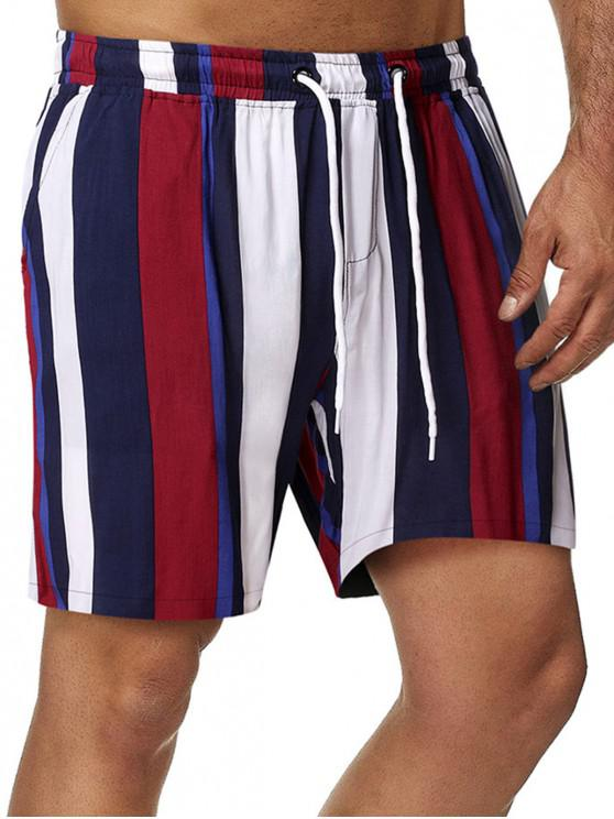 sale Vertical Stripe Print Drawstring Beach Shorts - MULTI 2XL