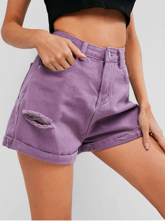 women's Rolled Hem Ripped Denim Shorts - PURPLE L