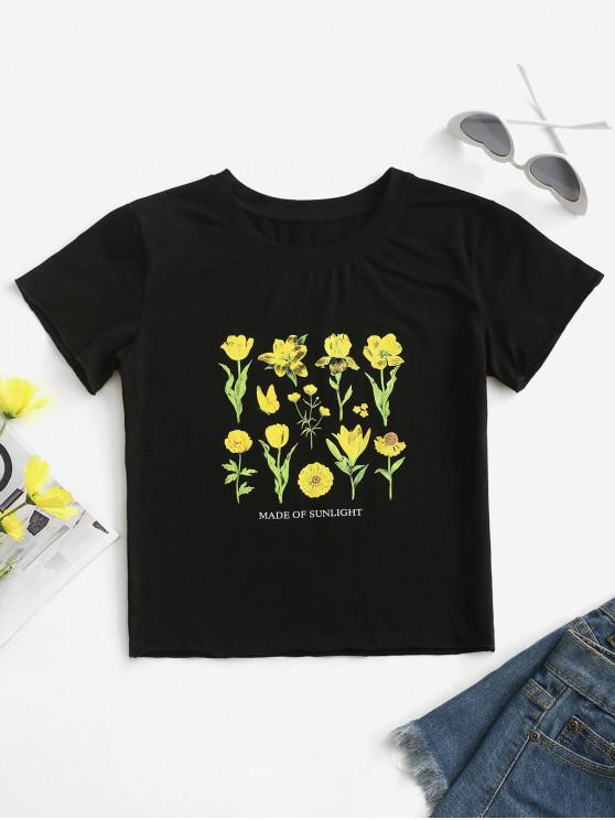 fashion MADE OF SUNLIGHT Floral Graphic Tee - BLACK S