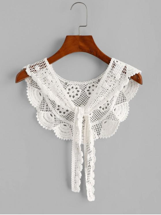 Crochet Lace Tie Versatile Beach Shawl - أبيض مقاس واحد