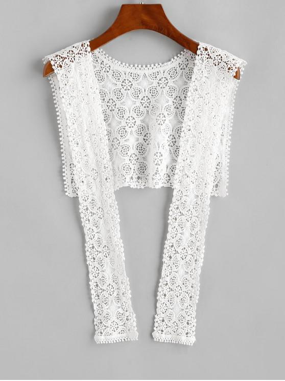 latest Crochet Lace Beach Shawl - WHITE ONE SIZE