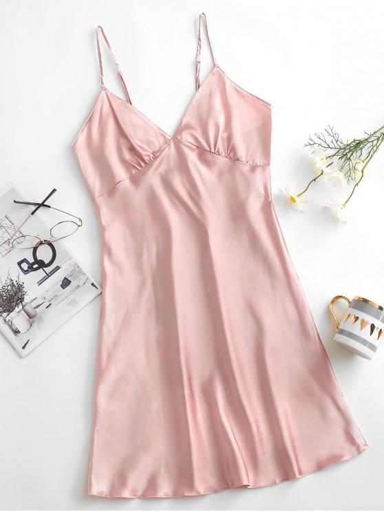 shop Satin Criss Cross Pajama Dress - LIGHT PINK XL