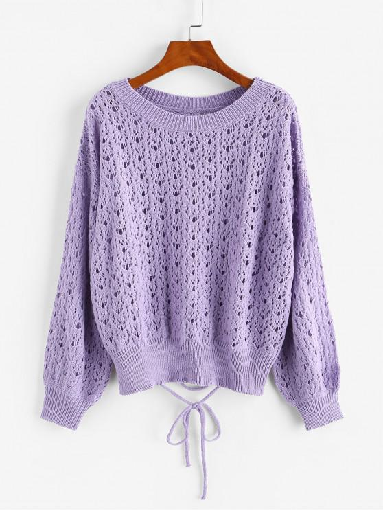 new Crew Neck Lace Up Pointelle-knit Pullover Sweater - PURPLE ONE SIZE