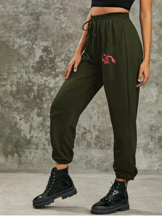 outfit Dragon Print High Rise Oriental Jogger Pants - DEEP GREEN L