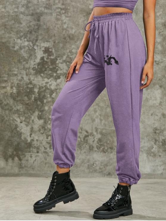 outfits Dragon Print High Rise Oriental Jogger Pants - LIGHT PURPLE L