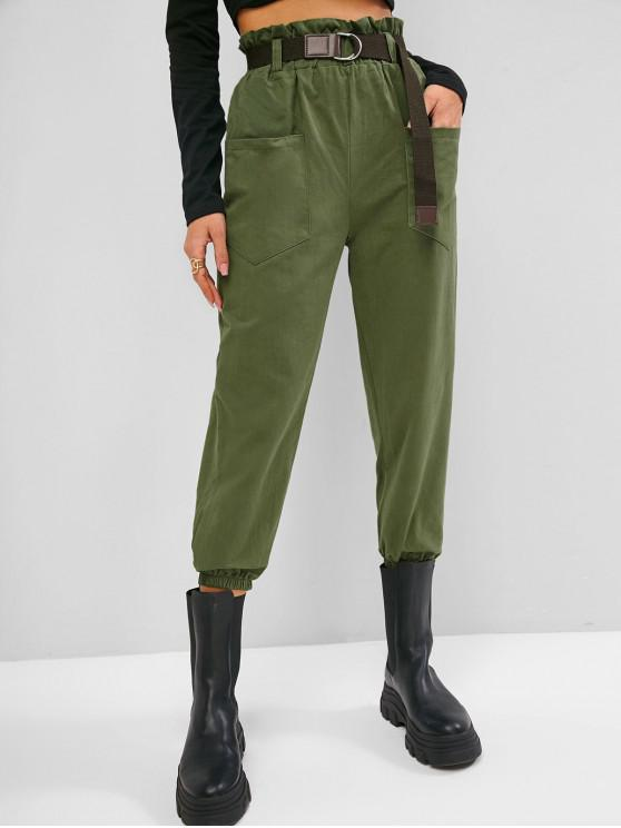 trendy Pockets Cargo Paperbag Pants - DEEP GREEN L