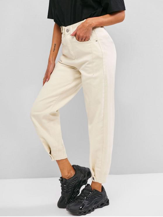 affordable High Waisted Buttoned Tabs Jogger Jeans - WHITE M