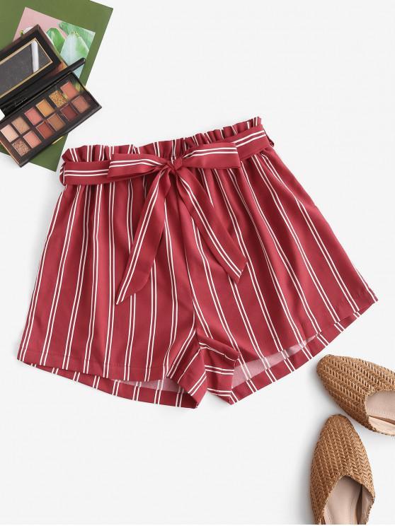 new Striped Print Mini Paperbag Shorts - RED L