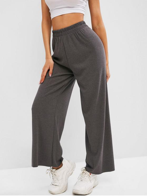 fashion Raw Hem Jersey Wide Leg Pants - DARK GRAY ONE SIZE