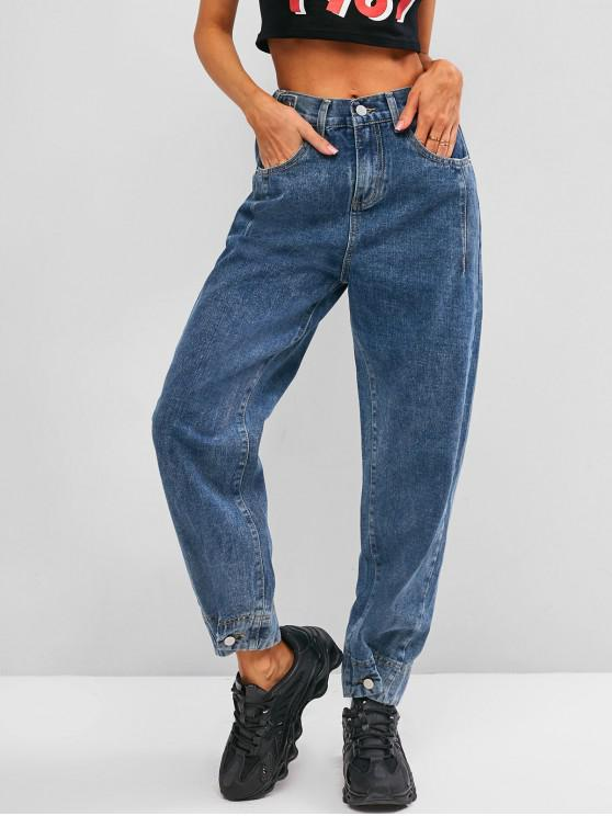 best High Waisted Buttoned Tabs Jogger Jeans - BLUE L