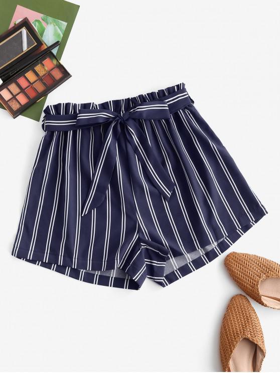 latest Striped Print Mini Paperbag Shorts - DEEP BLUE XL