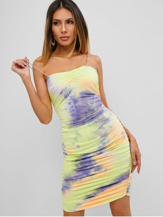 womens Tie Dye Gathered Chain Straps Mini Dress - DEEP BLUE S