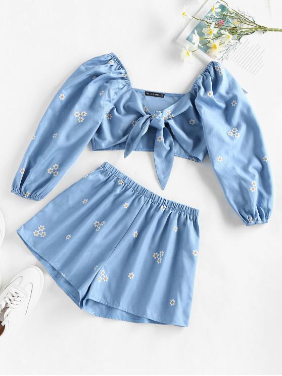 ZAFUL Daisy Print Tie Front Shorts Set - أزرق فاتح M