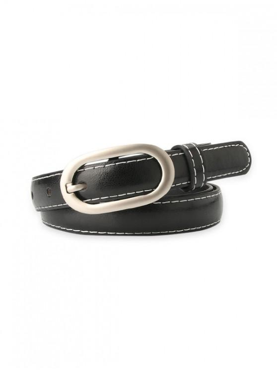 Sewing Detail PU Leather Waist Belt - أسود