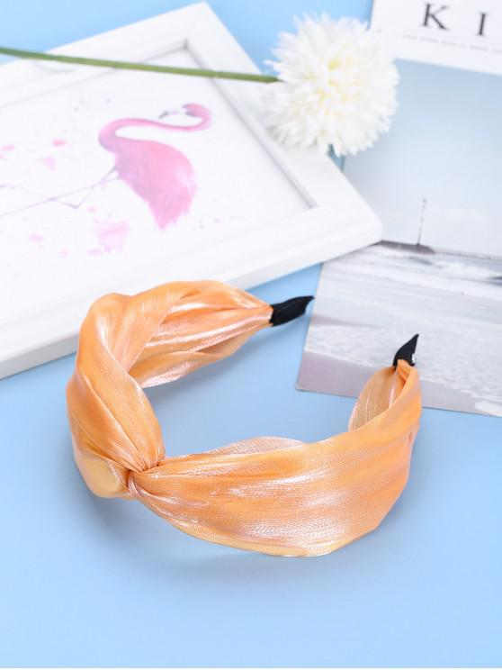 affordable Knot Wide Satin Fabric Hairband - GOLDEN BROWN