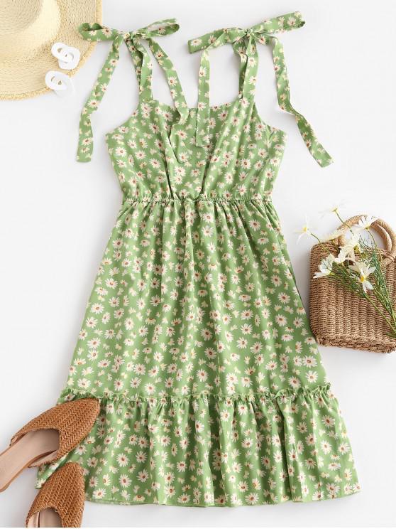 latest Sleeveless Daisy Print Tie Shoulder Dress - GREEN S