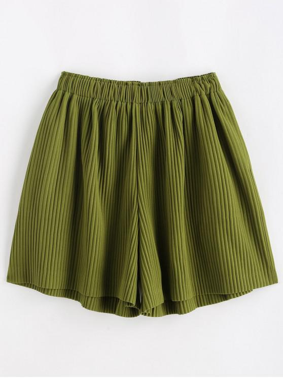 outfit High Waisted Pleated Wide Leg Shorts - SEAWEED GREEN ONE SIZE