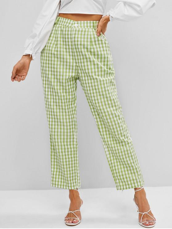 fashion High Waisted Plaid Straight Pants - LIGHT GREEN S