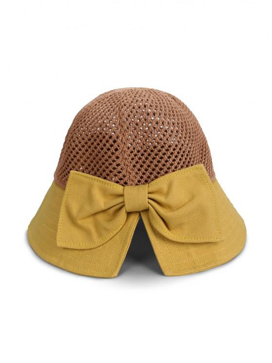 womens Bowknot Colorblock Bucket Hat - YELLOW