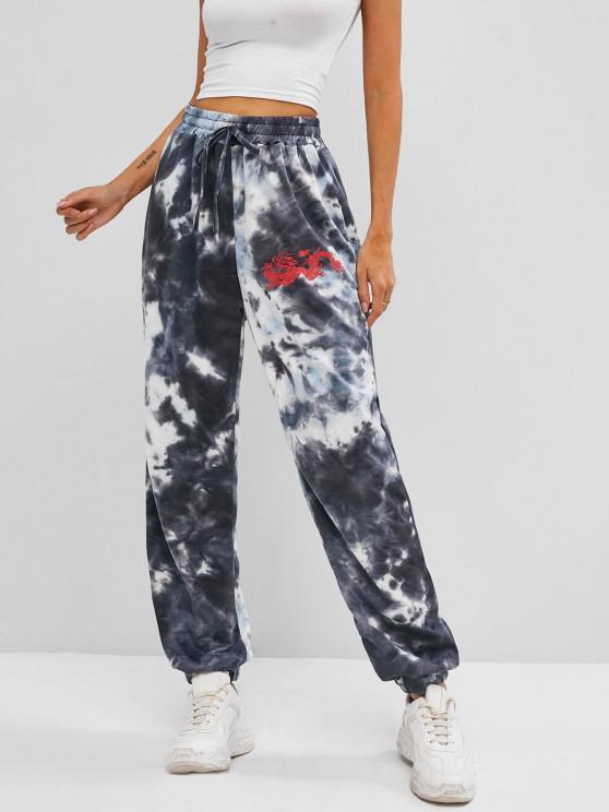 fancy Dragon Print High Rise Oriental Tie Dye Jogger Pants - GRAY S