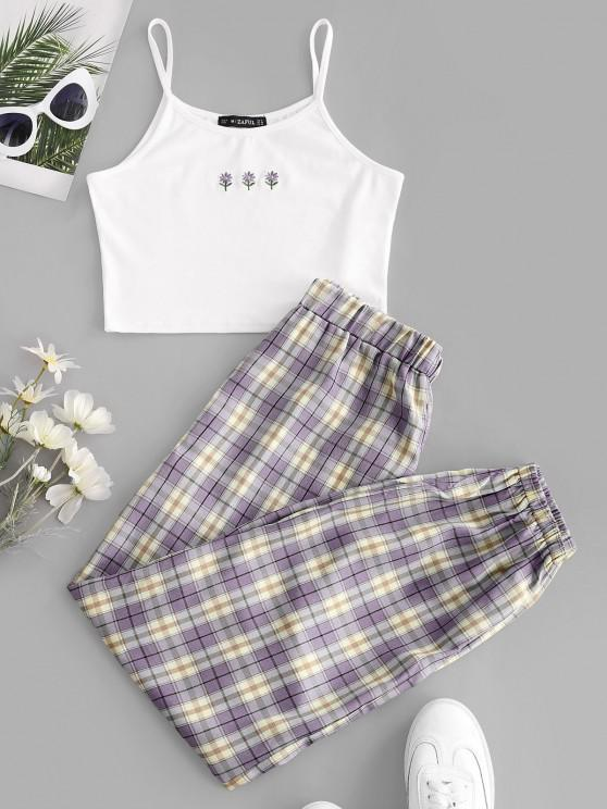women's ZAFUL Floral Embroidered Plaid Jogger Two Piece Set - PURPLE M