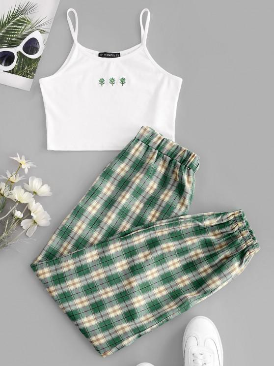 outfits ZAFUL Floral Embroidered Plaid Jogger Two Piece Set - DEEP GREEN XL