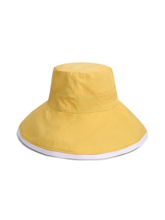 trendy Reversible Wide Brim Bucket Hat - YELLOW