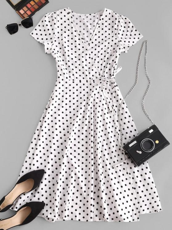 Polka Dot Print Wrap Midi Dress - أبيض S