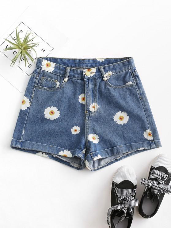 buy Cuffed Hem Daisy Print Denim Shorts - DEEP BLUE XS