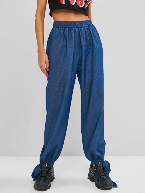 women ZAFUL Chambray Knotted Hem Loose Pants - LIGHT BLUE XL