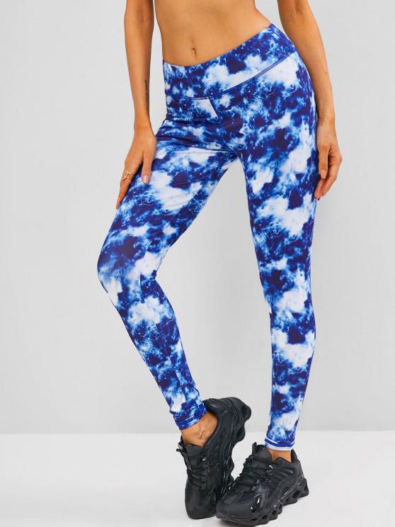 fancy Tie Dye Skinny Topstitching Leggings - BLUE S