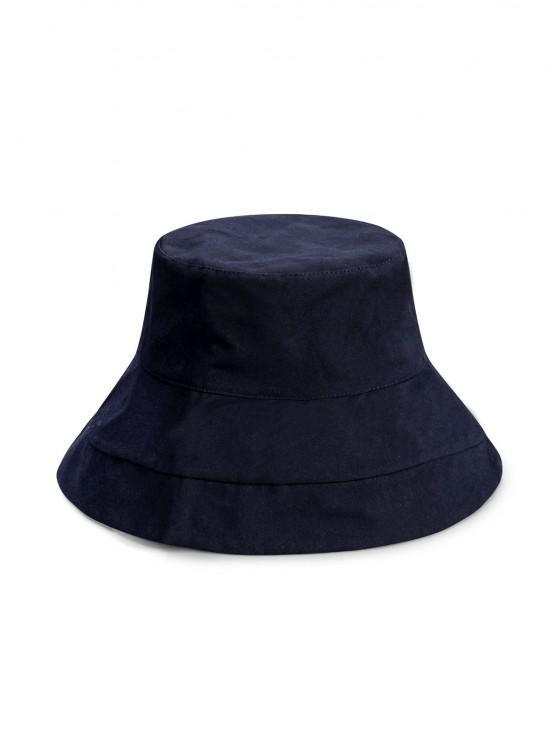 fancy Wide Brim Simple Style Bucket Hat - BLACK