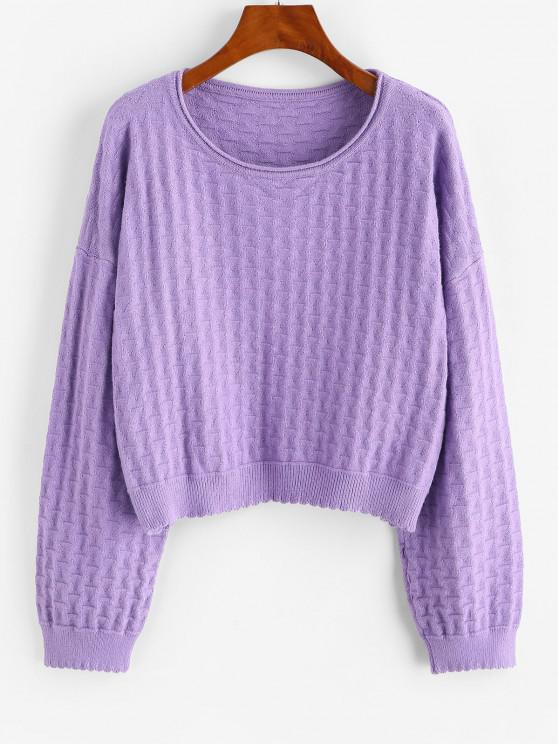 ZAFUL Drop Shoulder Plain Pullover Sweater - أرجواني مقاس واحد