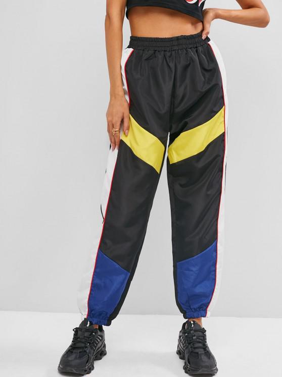 Jogger Pantalones con Cintura Alta de Bloqueo de Color - Negro M
