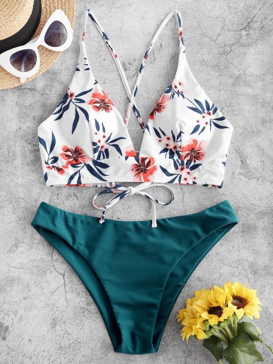 shops ZAFUL Flower Leaf Criss Cross Lace Up Bikini Swimsuit - DEEP GREEN M