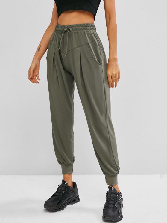 latest Drawstring High Waisted Slant Pockets Sweatpants - LIGHT GREEN M