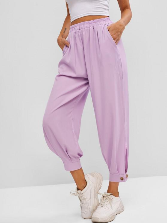 chic Button Cuff Pocket High Rise Pants - LIGHT PURPLE S