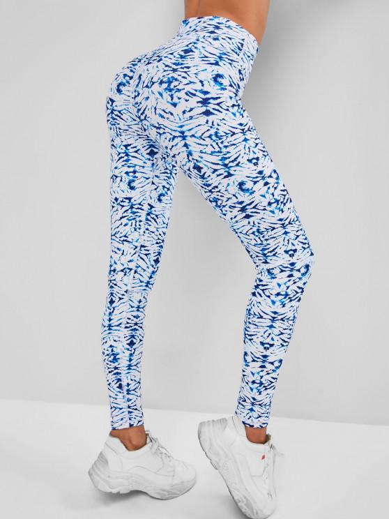 lady High Waisted Stitching Tie Dye Sports Leggings - LIGHT BLUE S
