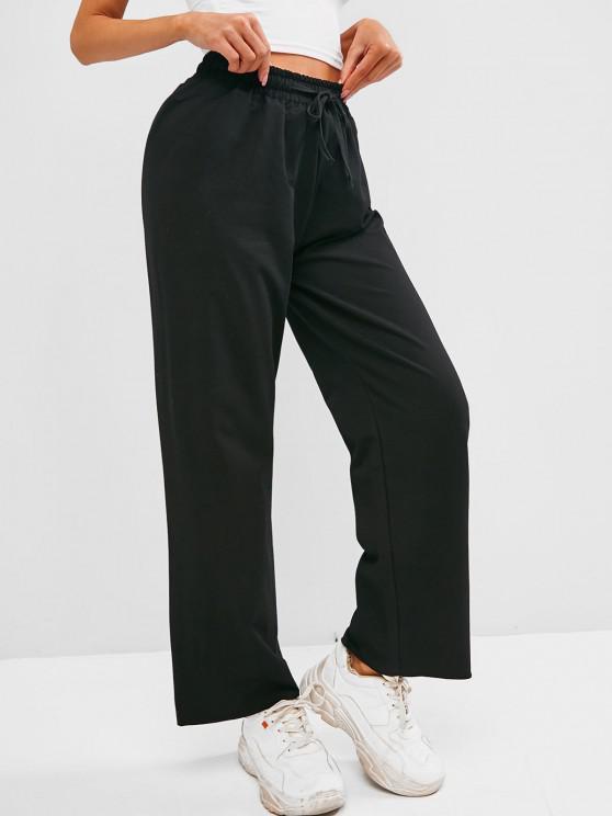 sale Drawstring Frayed Hem Wide Leg Pants - BLACK ONE SIZE