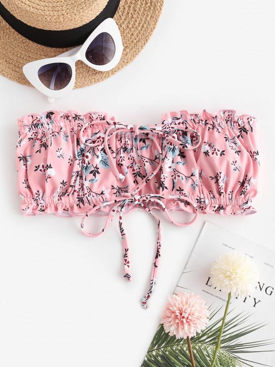fancy ZAFUL Ditsy Print Dual Ties Bandeau Bikini Top - LIGHT PINK L