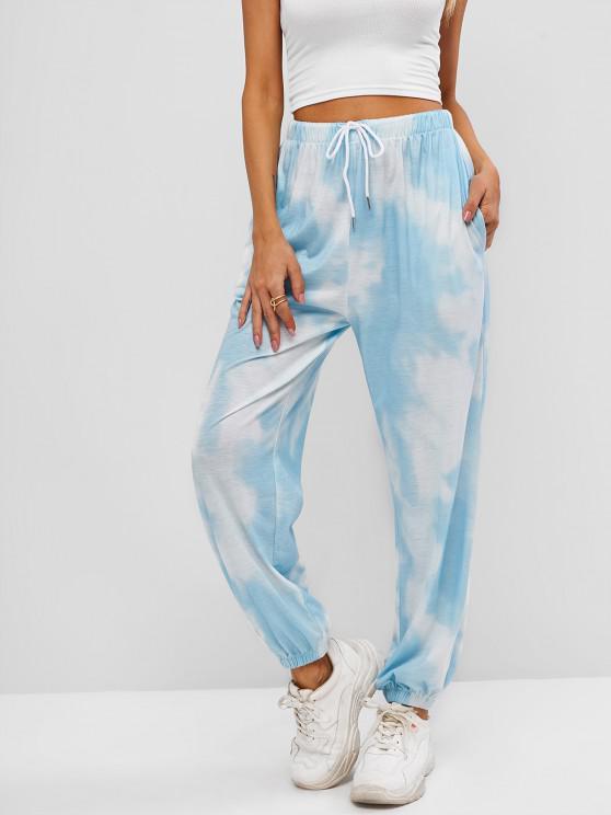 lady ZAFUL Tie Dye Pocket Drawstring Jogger Pants - LIGHT BLUE M