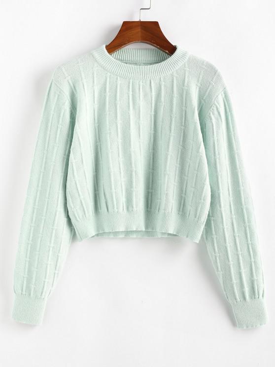 ZAFUL Plain Crop Jumper Sweater - اخضر فاتح M