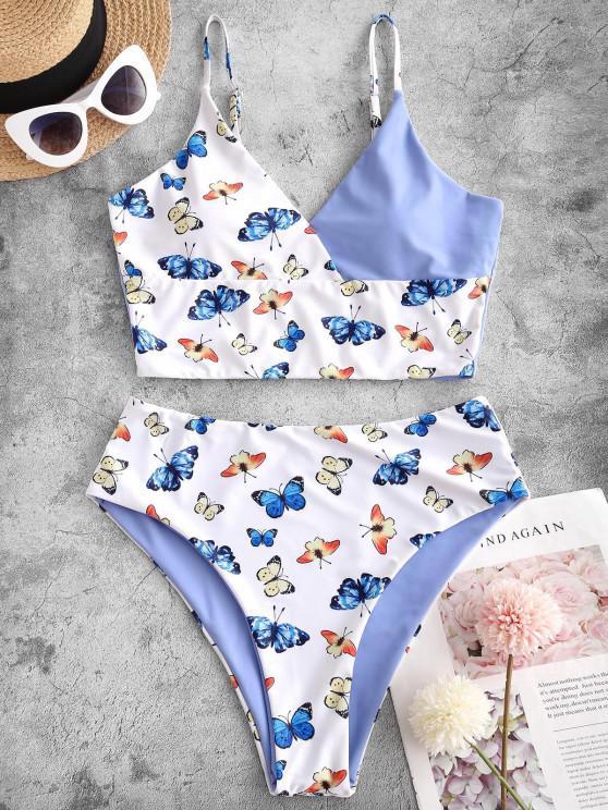 sale ZAFUL Colorblock Butterfly Print Surplice Tankini Swimwear - LIGHT BLUE S