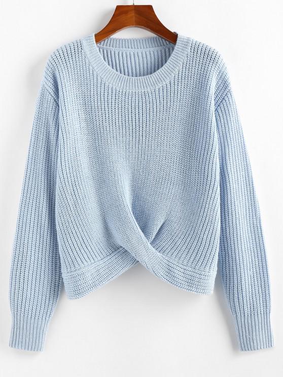 outfit ZAFUL Twist Hem Plain Jumper Sweater - LIGHT BLUE M