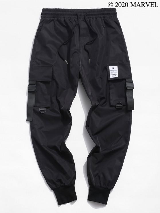 Pantalones de Carga Elastico de Cintura de Spider-Man - Negro XL