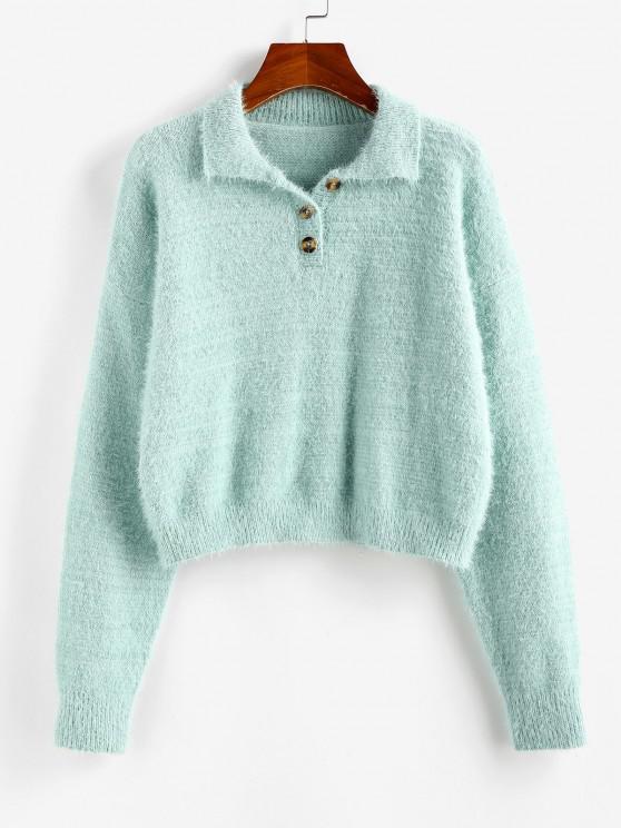 outfit ZAFUL Fuzzy Henley Knitwear - LIGHT GREEN M