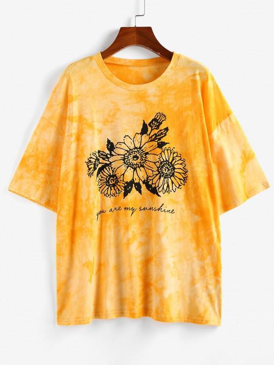 sale ZAFUL Sunflower Print Tie Dye Oversized Graphic T Shirt - YELLOW S