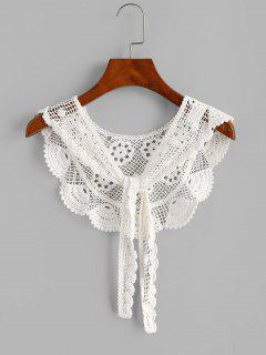 Crochet Lace Tie Versatile Beach Shawl - White
